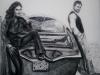 A mio fratello Vincenzo e Monica. Carboncino 50x60